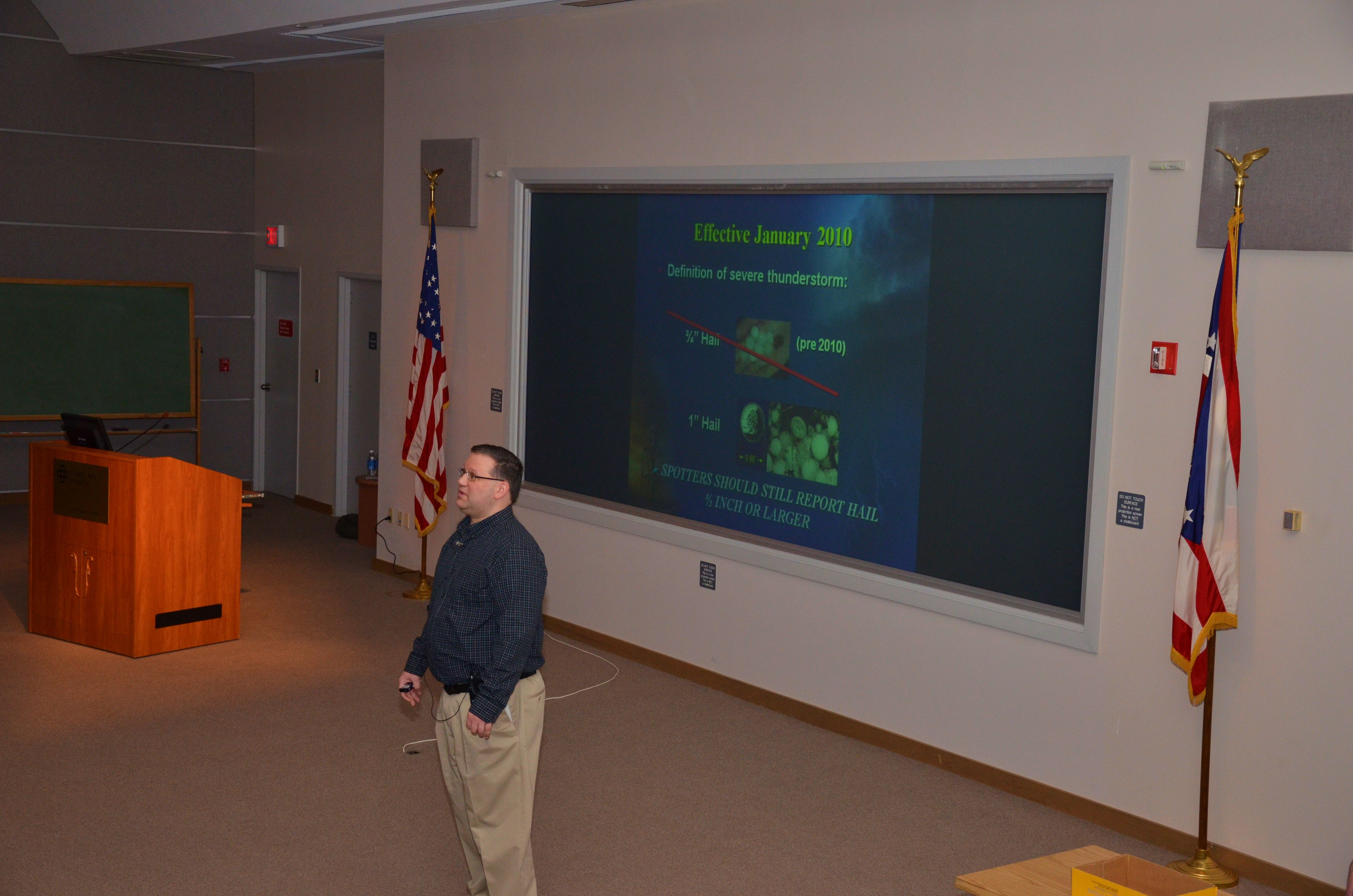 Scott Hickman presenting advanced weather class